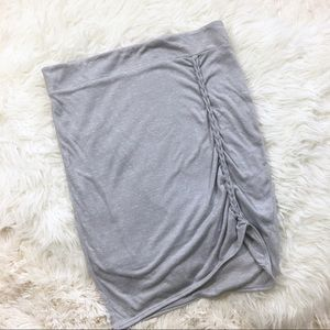 Free People Gray Jersey Braided Front Skirt M